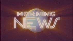Shiny retro MORNING NEWS text with earth globe light rays moving old vhs tape retro intro effect tv screen animation. Earth globe light rays moving on old vhs stock video