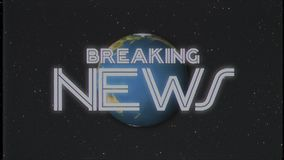 Shiny retro BREAKING NEWS text with earth globe old vhs tape retro intro effect tv screen animation background seamless. Earth globe light rays moving on old vhs stock video footage