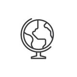 Earth globe line icon, outline vector sign, linear style pictogram isolated on white. Stock Photos