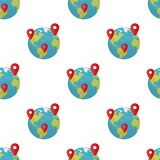 Earth Globe with Location Markers Pattern. A seamless pattern with a colorful planet Earth or globe flat icon with red markers, isolated on white background Royalty Free Stock Photo