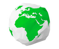 Earth Globe in Low Polygonal Style. 3d Rendering. Earth Globe in Low Polygonal Style on a white background. 3d Rendering Stock Photography