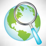 Earth globe with magnifying glass. Single earth globe with magnifying glass Royalty Free Stock Photo