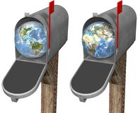 Earth Globe in Mailbox. The world delivered to a mailbox, in eastern hemisphere and western hemisphere globe set. 3D render illustration stock illustration