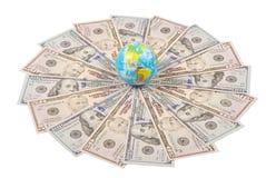 Earth globe on mandala kaleidoscope from money stock image