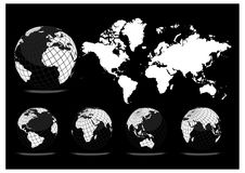 Earth globe and map background Stock Photo