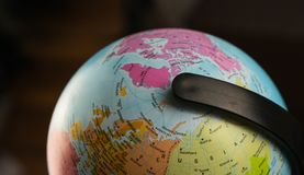 Earth globe map with focus on Asia, Russia, Canada, North Pole.  royalty free stock images