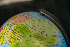Earth globe map with focus on Asia, Russia, Canada, North Pole.  royalty free stock photography
