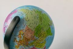 Earth globe map with focus on Asia, Russia, Canada, North Pole.  royalty free stock photo