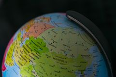 Earth globe map with focus on Asia, Russia, Canada, North Pole.  stock image