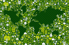 Earth Globe map with green icons background Stock Photos