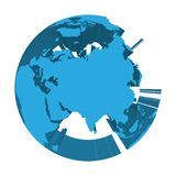 Earth globe model with blue extruded lands. Focused on Asia. 3D vector illustration.  Royalty Free Stock Images