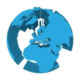 Earth globe model with blue extruded lands. Focused on Europe. 3D vector illustration.  Stock Photo