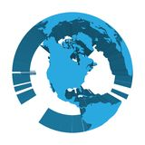 Earth globe model with blue extruded lands. Focused on North America. 3D vector illustration.  Royalty Free Stock Images