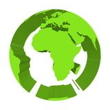 Earth globe model with green extruded lands. Focused on Africa. 3D vector illustration.  Royalty Free Stock Photography
