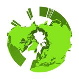 Earth globe model with green extruded lands. Focused on Arctica and North Pole. 3D vector illustration.  Royalty Free Stock Photos