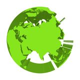 Earth globe model with green extruded lands. Focused on Asia. 3D vector illustration.  Royalty Free Stock Photos
