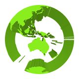 Earth globe model with green extruded lands. Focused on Australia. 3D vector illustration.  Royalty Free Stock Photo