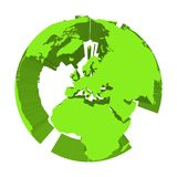 Earth globe model with green extruded lands. Focused on Europe. 3D vector illustration.  Stock Images