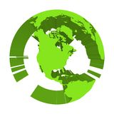 Earth globe model with green extruded lands. Focused on North America. 3D vector illustration.  Royalty Free Stock Photos