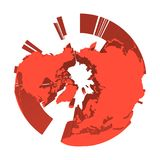 Earth globe model with red extruded lands. Focused on Arctica and North Pole. 3D vector illustration.  Royalty Free Stock Image