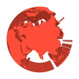 Earth globe model with red extruded lands. Focused on Asia. 3D vector illustration.  Royalty Free Stock Image