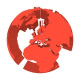 Earth globe model with red extruded lands. Focused on Europe. 3D vector illustration.  Stock Photography