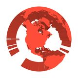 Earth globe model with red extruded lands. Focused on North America. 3D vector illustration.  Stock Images