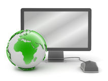 Earth globe, monitor and computer mouse. On white background vector illustration