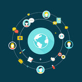 Earth Globe and Network Communication Icons. Crowdsourcing, Social Network and Media Concept Stock Photos