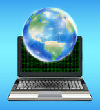 Earth globe with network line  floating on laptop Royalty Free Stock Image