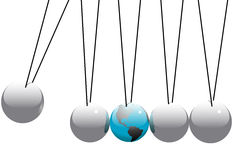Earth Globe in Newtons Cradle Balls Royalty Free Stock Images