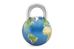 Earth globe padlock, protect and security concept. 3D rendering Royalty Free Stock Images