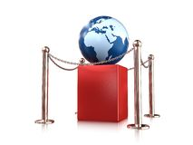 Earth globe on pedestal. Earth globe on red pedestal enclosure Royalty Free Stock Photo