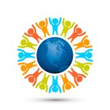 Earth globe with people planet. Royalty Free Stock Photo
