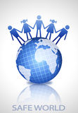 Earth globe with people shapes Royalty Free Stock Image