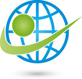 Earth globe and person, transportation and business logo. Earth globe and person, colored, transportation and business logo Royalty Free Stock Images