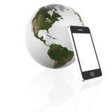 Earth Globe and phone Royalty Free Stock Photo