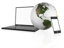 Earth Globe, phone and laptop Royalty Free Stock Photo