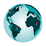 earth globe with pins icon Royalty Free Stock Photos