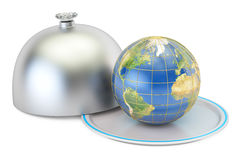 Earth globe on a platter with open lid, 3D rendering Royalty Free Stock Photos
