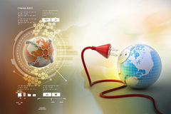 Earth globe with power cable Royalty Free Stock Image