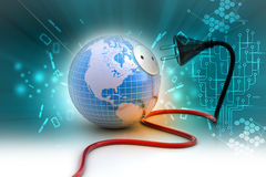 Earth globe with power cable Stock Photos