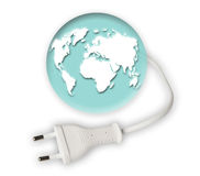 Earth globe with power cable. On white Stock Images