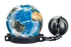 Earth Globe with prison shackle, 3D rendering. Isolated on white background Royalty Free Stock Photos