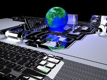 Earth globe on processor communication and technology concept. Earth globe on processor with circuit board. communication and technology concept,3d render Royalty Free Stock Images