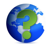Earth globe with question mark stock illustration