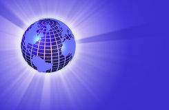 Earth Globe Radiating Light - Left Orientation Royalty Free Stock Photos