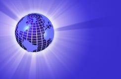 Earth Globe Radiating Light - Left Orientation. 3D render of an earth globe radiating light Royalty Free Stock Photos