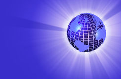 Earth Globe Radiating Light - Right Orientation. 3D render of an earth globe radiating light Royalty Free Stock Images