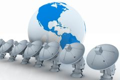 Earth globe with radio aerials Stock Photo